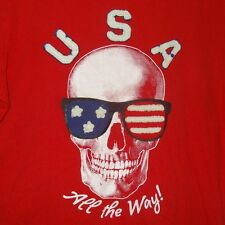 Red U.S.A. All the Way T-Shirt Skull Size Large (10-12) Old Navy