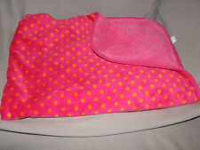 CARTERS BABY GIRL BLANKET HOT PINK FUCHSIA ORANGE SMALL POLKA DOT SHERPA FURRY