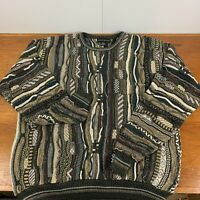 Croft & Barrow Cable Knit Sweater XLT Multi-Color Coogi Style Biggie 90s Vtg