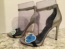 BCBG Max Azria Runway Doni Sandals Leather Ankle Strap Store Sample Pewter 9 M