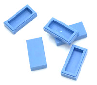 Lego 5 New Medium Blue Tiles 1 x 2 with Groove Flat Smooth Pieces