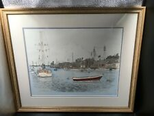 MARTIN BARRY Limited Edition Signed Framed Lithograph of Nantucket Harbor, MA