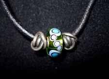 Trollbeads LAA  Murano Glass Sterling Silver Slider Black Leather Charm Necklace