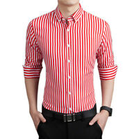 Mens Long Sleeve Slim Fit Casual Cotton Stripe Shirt
