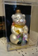 """Hand Crafted Glass Pig Christmas Ornament Decoration 4.5"""" tall."""