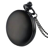 Antique Black Smooth Pocket Watch Vintage Quartz Pendant Necklace Chain Men Gift