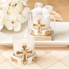 12 Gold Vintage Cross Candles Christening Baptism Shower Religious Party Favors