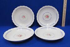 Canonsburg Du Barry Soup or Cereal Bowls Pink Rose Blue Trim Vintage Set 4