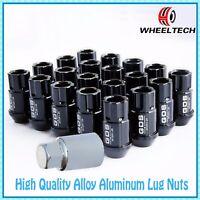 20 Black Aluminum M12x1.25 45mm for NISSAN INFINITI SUBARU SUZUKI Wheel Lug Nuts