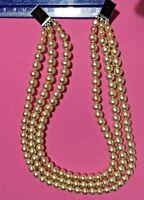 Heavy Triple Strand Vintage Faux Pearl Choker - Needs Clasp