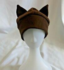 Brown Cat Fleece Hat Handmade in US