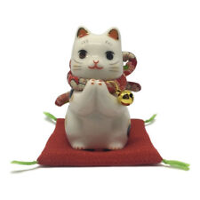 Chat Japonais 90mm prière Maneki Neko bobtail porcelaine Made in Japan 40585