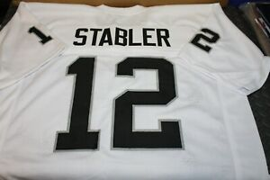 """KEN STABLER #12 SEWN STITCHED THROWBACK WHITE ROAD JERSEY SIZE XXL """"SNAKE"""""""