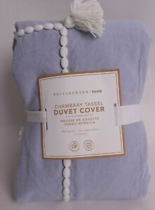 Pottery Barn PB Teen Chambray Tassel FQ duvet cover full queen, peri blue