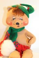 """Annalee Christmas Bear 12"""" tall Snowball with Green Hat + Scarf 1990"""