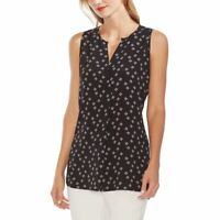 VINCE CAMUTO NEW Women's Black Front-pleat Floral Shell Blouse Shirt Top M TEDO