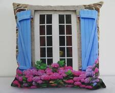 French Country Blue Shutters Chateau Pink Hydrangea Cushion Cover 45cm