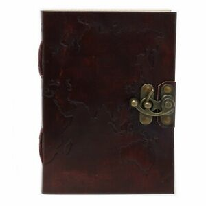 WORLD TRAVEL LEATHER JOURNAL - Hinge Fastening - 200 Quality Blank Pages