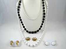 Monet Signed 3 Necklaces 2 Clip Earrings 2 Flower Pin Brooch Lot Black White