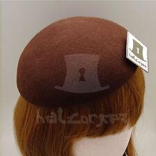 FASHION Wool Felt Women Beret Pillbox Hat Ladies Plain Fascinator DIY | Brown