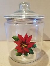 Kitchen Cookie Jar/Dry Food Canister, Large Glass, Clear With Poinsettia Design