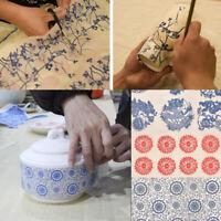 Transferpapier Unterglasur Farbe Figur Blume Blau Weiß Keramik Aufkleber Dekor