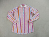 Eton Button Up Shirt Adult Large Pink White Striped Long Sleeve Casual Mens
