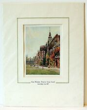 Trinity Great Court, Cambridge 1907, by EW Haslehust 9x12 matted print with Cert