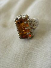 GENUINE AMBER & RUBY STERLING SILVER RING SIZE 10 SIGNED MICHAEL VALITUTTI