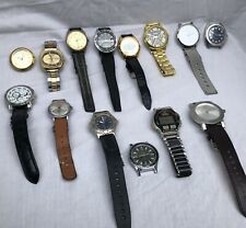 NICE VINTAGE TO NOW MEN'S LOT of 14 WATCHES; BENRUS, LUCERNE, TIMEX, ARNEX ETC..