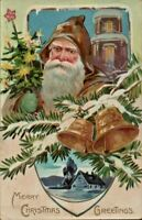 Antique Christmas Postcard Tuck's Santa Brown Hood Coat Green Gloves Tree  #102