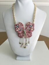 Betsey Johnson Necklace Pink Butterfly Glitter Crystal Statement NWT