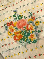 VTG 2 pc Cannon Monticello Bed Sheet Set Flat Fitted FULL Floral Rose Bouquet