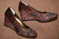 NEW Sz 6 Chocolate Crushed Velvet Sequin & Bead Covered Wedge Heel Shoes Xmas