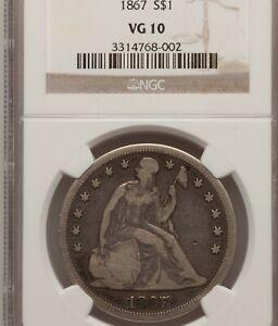 1867 $1 NGC VG 10 Seated Liberty Silver Dollar