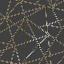 Holden Decor Geometric 3D Metallic Wallpaper Apex Paladium Design Black Gold