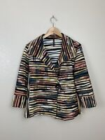 IC By Connie K Womens Large L Striped Knit Asymmetric Jacket Art To Wear