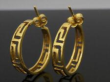 18Carat Yellow Gold Greek Key Style Stud Hoop Earrings (22mm Diameter)