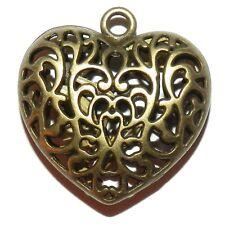 ML913p Antiqued Bronze 35mm Heart Pendant w Intricate Open Filigree Design 12pc