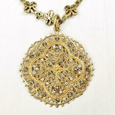 La Vie Parisienne Catherine Popesco Gold Medallion Necklace Swarovski Crystals