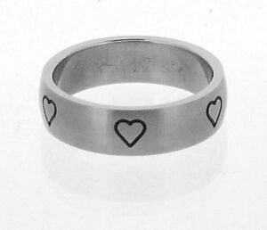 Stainless Steel Ring with Hearts in 8 Sizes R8