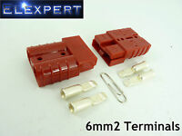 ANDERSON PLUG 50 AMP_BATTERY CONNECTOR_JUMP START_SLAVE ASSIST_X2_RED_6MM2