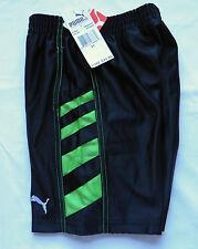 NWT Boys 3T Puma Athletic Black Shorts w/Neon Green Side Stripes