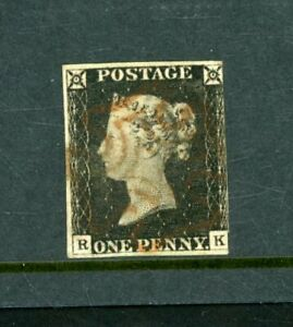 Great Britain 1840 Penny Black  Plate 2,   3-Margins   fine used      (O573)