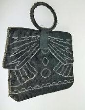 ART DECO Beaded Evening Bag Black & Silver Round Handle CZECHOSLOVAKIA c1930's