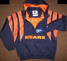 CHICAGO BEARS Starter Hooded Half Zip Pullover Jacket S M XL 2X BLUE