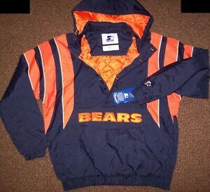 CHICAGO BEARS Starter Hooded Half Zip Pullover Jacket S M L XL 2X BLUE