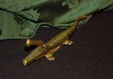 """Alligator Crocodile Brass Bronze Hand Held Nut Cracker Vintage piece older 8"""""""
