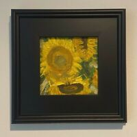 Syd Breyette Original FRAMED Oil Painting 6x6 Sunflowers SIGNED
