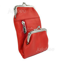 Women's Genuine Leather Cigarette and Lighter Case with Double Twist Clasp